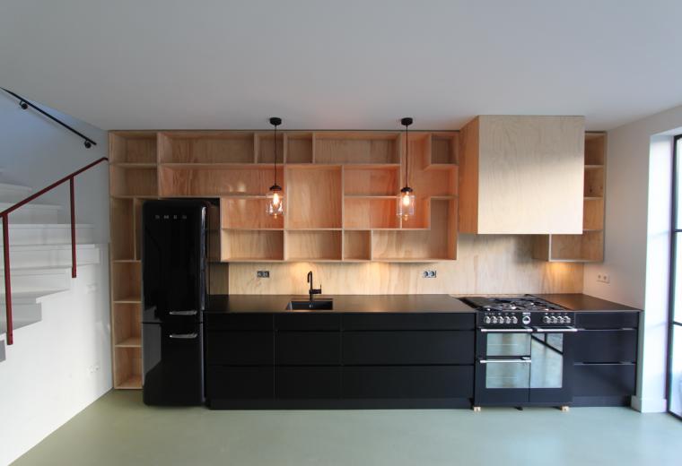 keukenwand op maat, underlayment, mat zwart, amsterdam